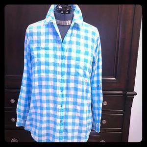 MICHAEL KORS Medium Turquoise Plaid Shirt Top
